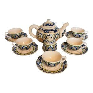 Hand Painted Pottery Hot Chocolate Pitcher & Cups